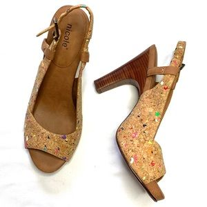 Nicole Splattered Cork Valley Peeptoe Heels